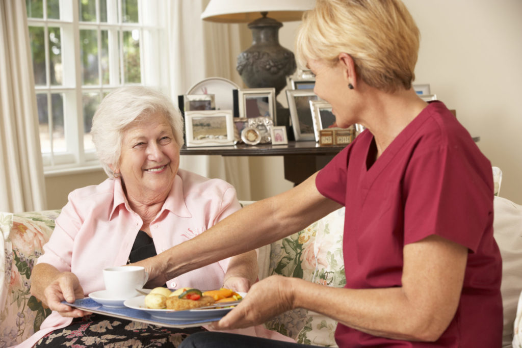 A domiciliary carer giving a happy elderly lady a tray of food
